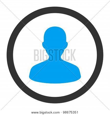 User flat blue and gray colors rounded vector icon