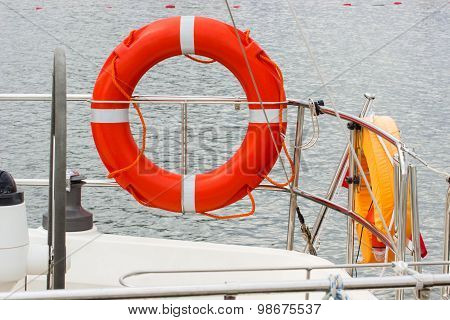 Yachting, Orange Lifebuoy On Sailboat