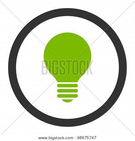 Electric Bulb flat eco green and gray colors rounded vector icon