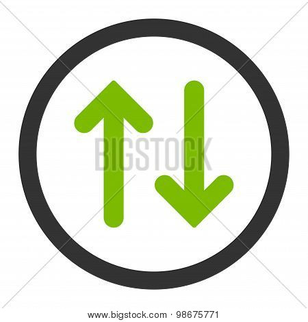 Flip flat eco green and gray colors rounded vector icon