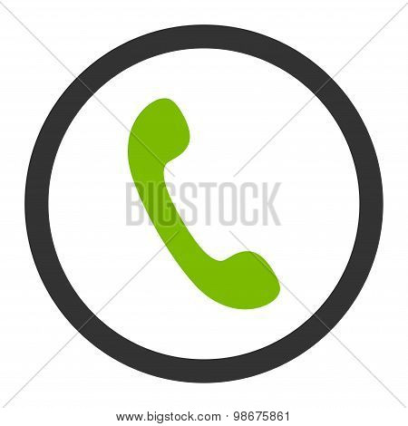 Phone flat eco green and gray colors rounded vector icon
