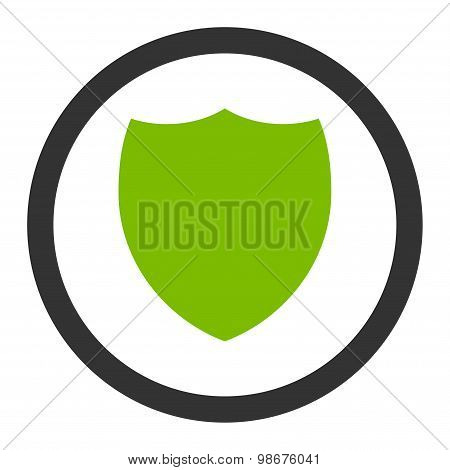 Shield flat eco green and gray colors rounded vector icon