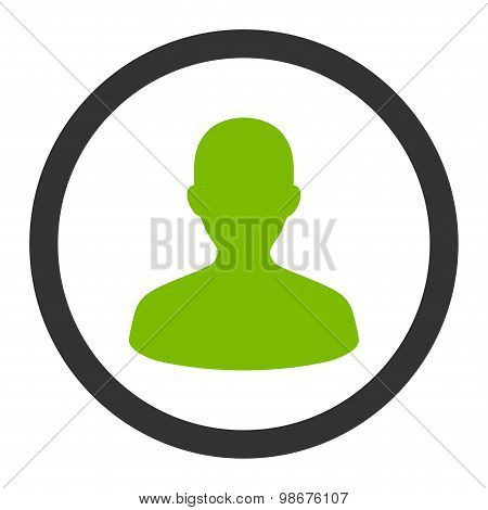 User flat eco green and gray colors rounded vector icon