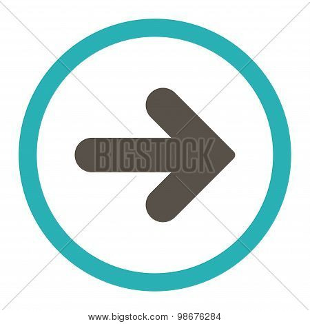 Arrow Right flat grey and cyan colors rounded vector icon