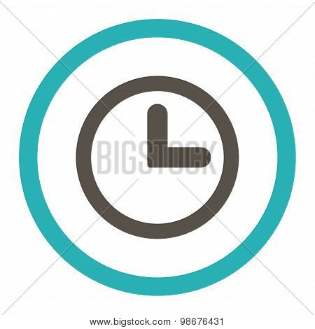 Clock flat grey and cyan colors rounded vector icon