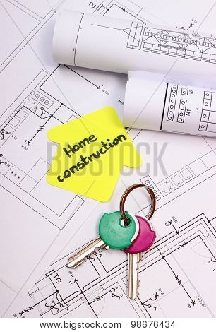 Home Keys, House Of Yellow Paper With Text Home Construction And Diagrams