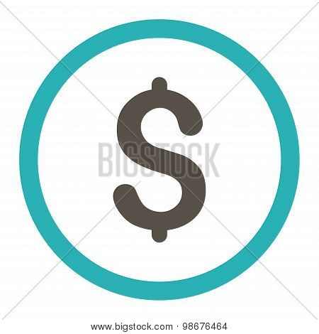 Dollar flat grey and cyan colors rounded vector icon
