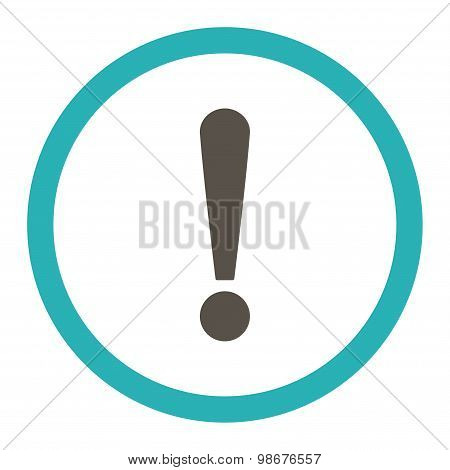 Exclamation Sign flat grey and cyan colors rounded vector icon