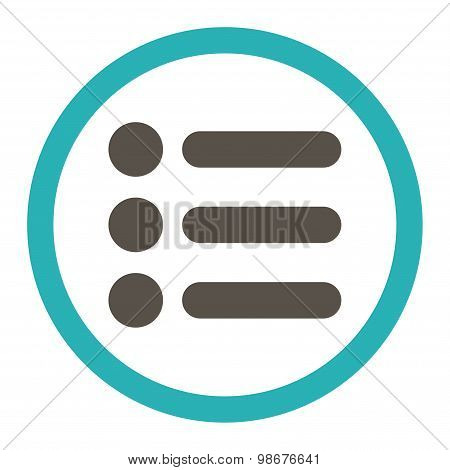 Items flat grey and cyan colors rounded vector icon