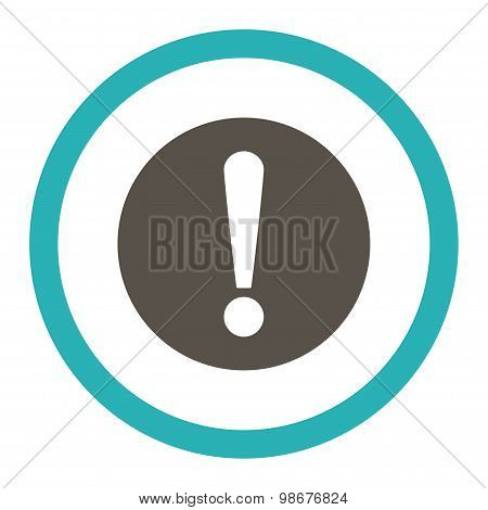 Problem flat grey and cyan colors rounded vector icon