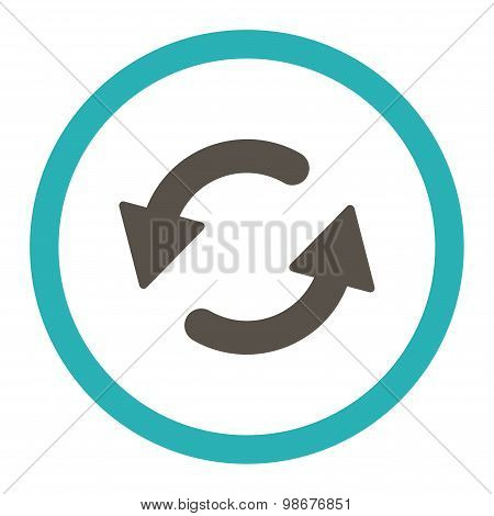 Refresh Ccw flat grey and cyan colors rounded vector icon