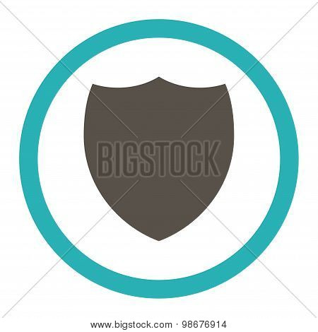 Shield flat grey and cyan colors rounded vector icon