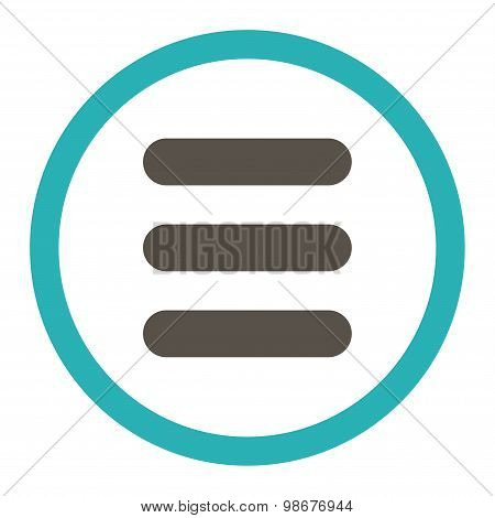 Stack flat grey and cyan colors rounded vector icon