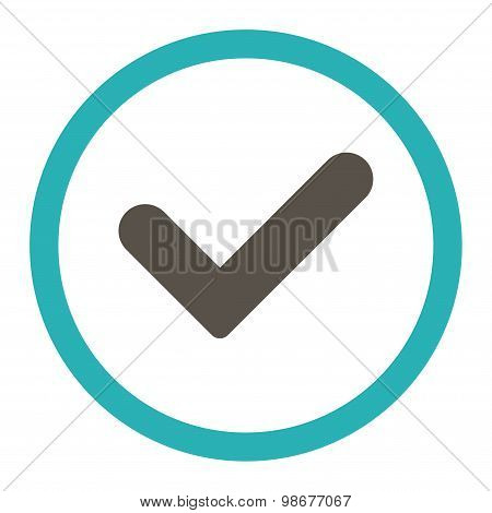 Yes flat grey and cyan colors rounded vector icon