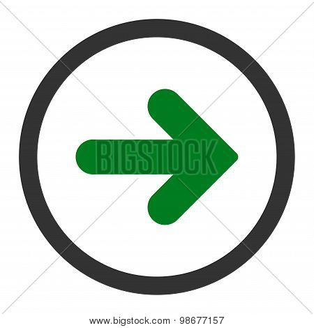 Arrow Right flat green and gray colors rounded vector icon