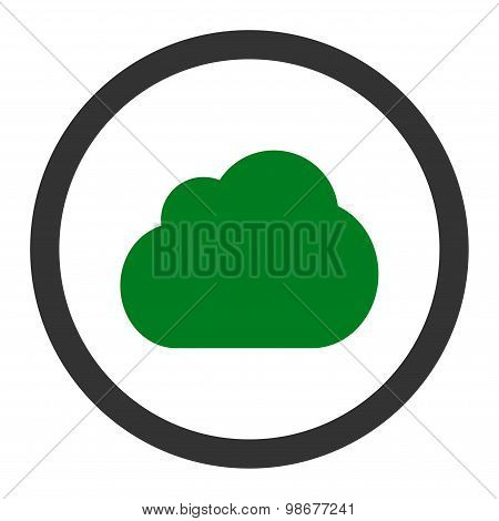 Cloud flat green and gray colors rounded vector icon