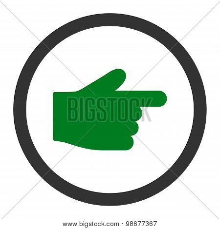 Index Finger flat green and gray colors rounded vector icon