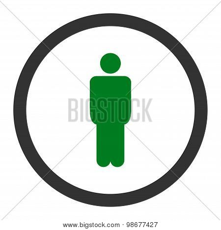 Man flat green and gray colors rounded vector icon