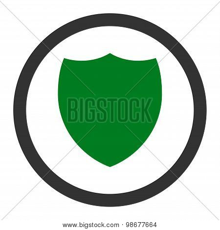 Shield flat green and gray colors rounded vector icon