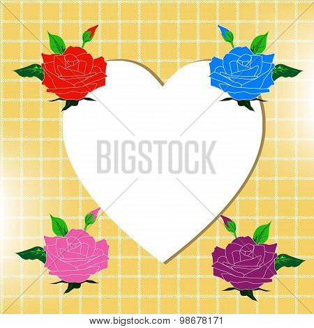Happy Vlentine Day With Beautiful Four Colour Of Roses Blue Red Violet And Pink Roses  On A White He