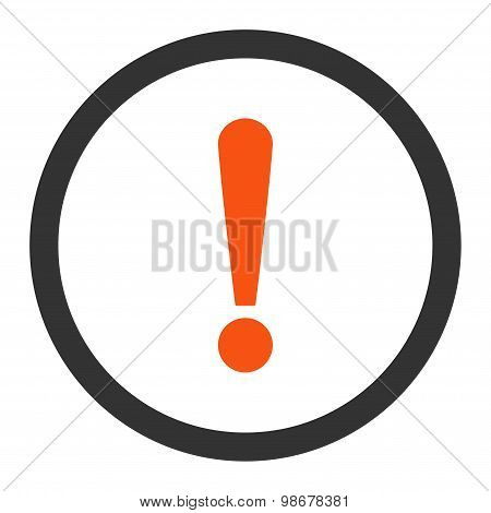 Exclamation Sign flat orange and gray colors rounded vector icon
