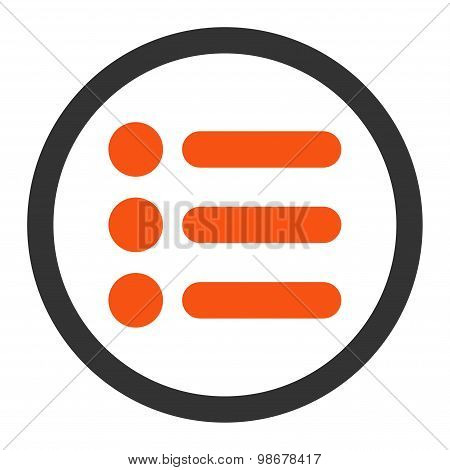Items flat orange and gray colors rounded vector icon