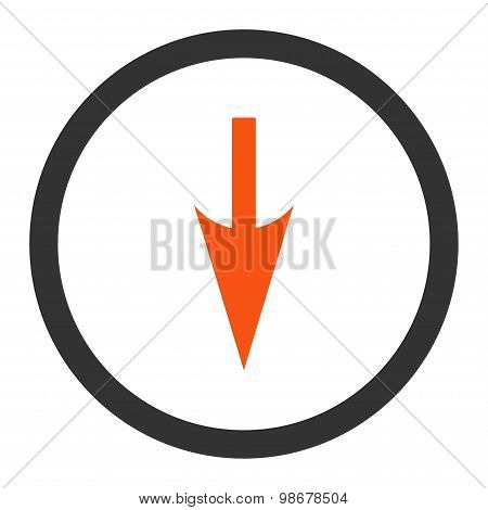 Sharp Down Arrow flat orange and gray colors rounded vector icon