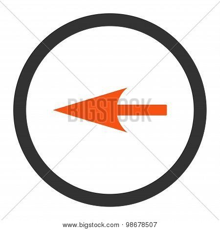Sharp Left Arrow flat orange and gray colors rounded vector icon