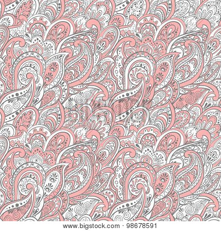 colorful paisley seamless pattern. ethnic vector background