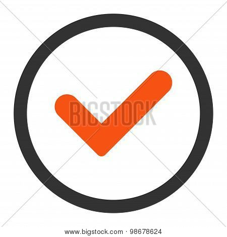 Yes flat orange and gray colors rounded vector icon