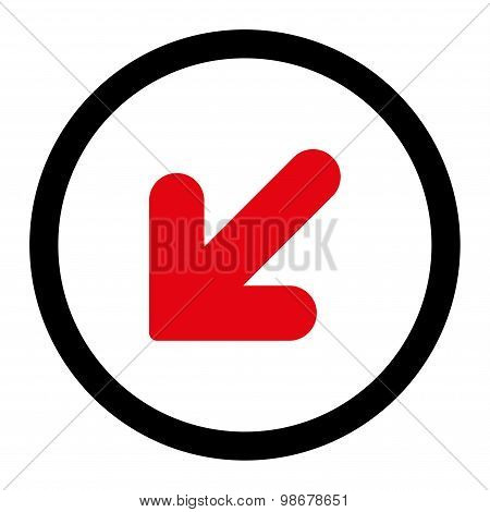 Arrow Down Left flat intensive red and black colors rounded vector icon