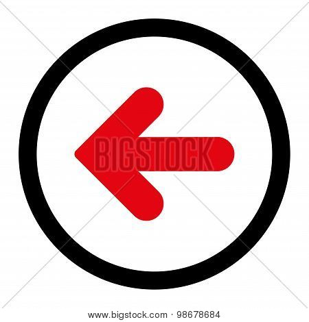 Arrow Left flat intensive red and black colors rounded vector icon