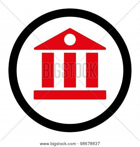 Bank flat intensive red and black colors rounded vector icon