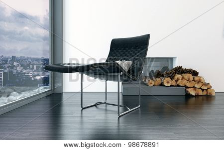 Cozy black leather lounge chair in front of fireplace with pieces of wood in front. 3d Rendering.