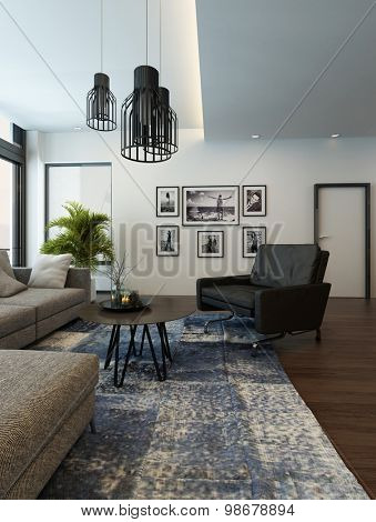 Modern cozy living room interior with gray couch or sofa and carpet on a wooden parquet floor. 3d Rendering.