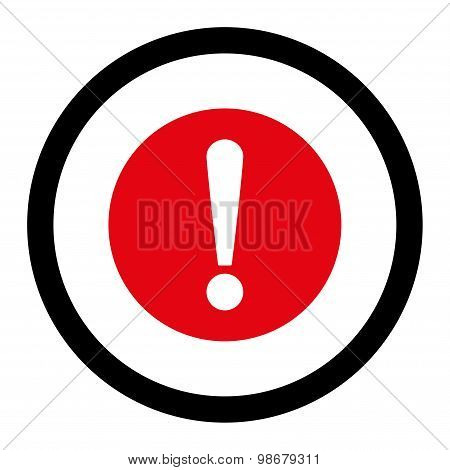 Problem flat intensive red and black colors rounded vector icon