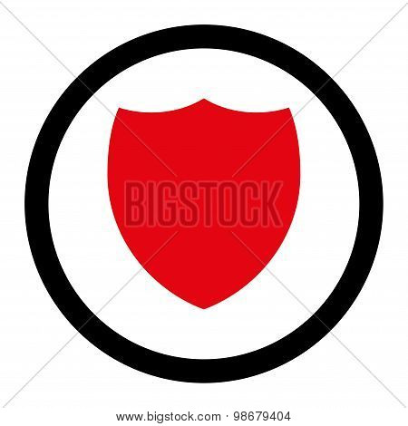 Shield flat intensive red and black colors rounded vector icon