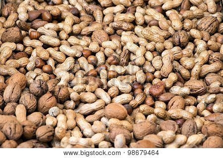 Background Texture Of Assorted Nuts