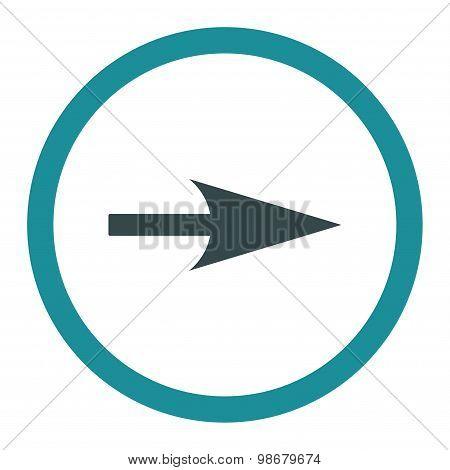 Arrow Axis X flat soft blue colors rounded vector icon