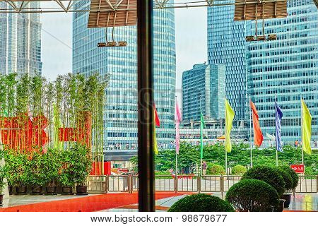 Shanghai, China- May, 24, 2015: Beautiful Skyscrapers, City Building, Beautiful Office And Commercia