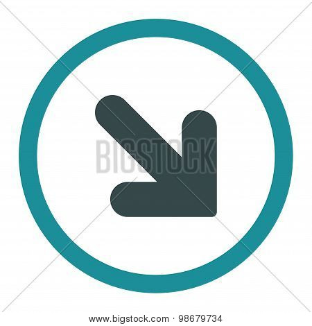 Arrow Down Right flat soft blue colors rounded vector icon