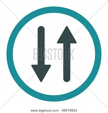 Arrows Exchange Vertical flat soft blue colors rounded vector icon