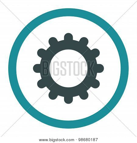 Gear flat soft blue colors rounded vector icon