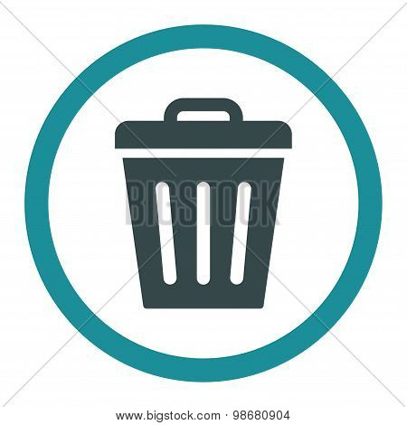 Trash Can flat soft blue colors rounded vector icon