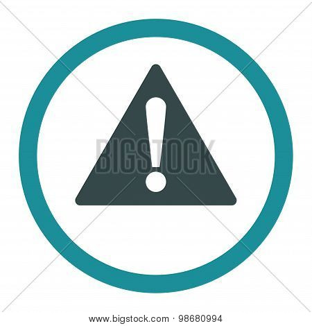 Warning flat soft blue colors rounded vector icon