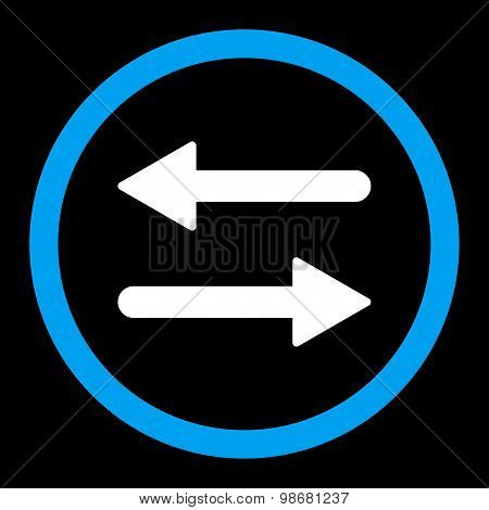 Arrows Exchange flat blue and white colors rounded raster icon