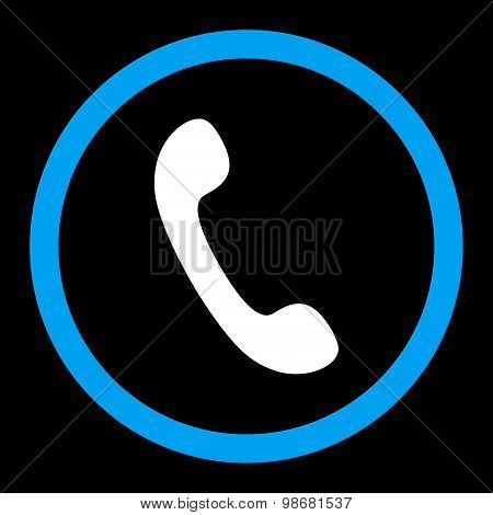 Phone flat blue and white colors rounded raster icon