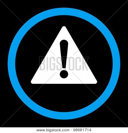Warning flat blue and white colors rounded raster icon