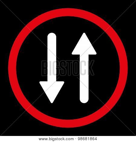 Arrows Exchange Vertical flat red and white colors rounded raster icon