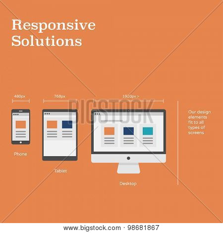 Responsive solutions for website layout on different devices - flat design illustration